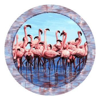 Flamingos Absorbent Round Beverage Coasters by Pixie Studio, Set of 8