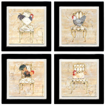 Roosters and Chairs Beverage Coasters, Set of 8