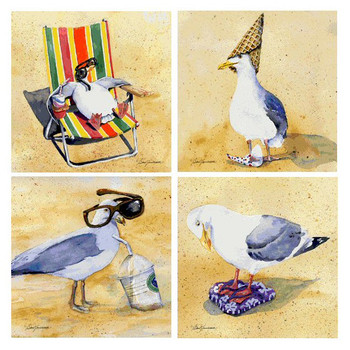 Silly Seagull Birds Beverage Coasters by Barb Tourtillotte, Set of 8