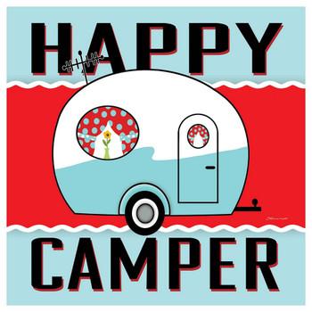 Blue Happy Camper Absorbent Beverage Coasters, Set of 12