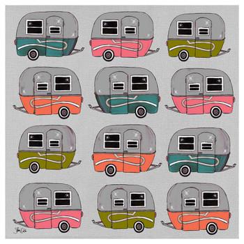 Camper Pattern Absorbent Beverage Coasters, Set of 12