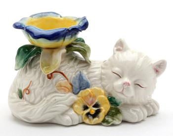 Pansy Flower Cat Tea Light Candle Holder