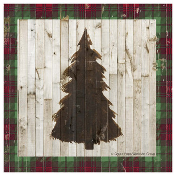 Rustic Christmas Tree Absorbent Beverage Coasters, Set of 12