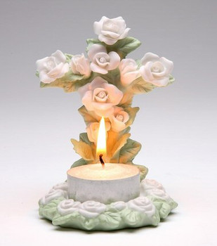 Rose Cross Porcelain Tea Light Candle Holder