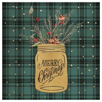 Merry Christmas Jar Absorbent Beverage Coasters, Set of 12