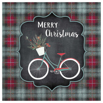 Merry Christmas Bike Absorbent Beverage Coasters, Set of 12