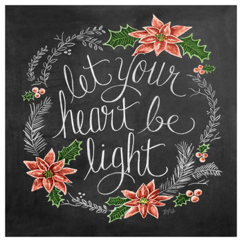 Let Your Heart Be Light Poinsettia Flower Beverage Coasters, Set of 12