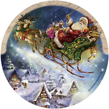 Santa's Sleigh Sandstone Beverage Coasters, Set of 8