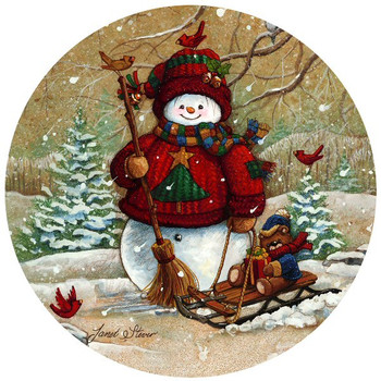 Snow Pals Snowman Sandstone Beverage Coasters, Set of 8