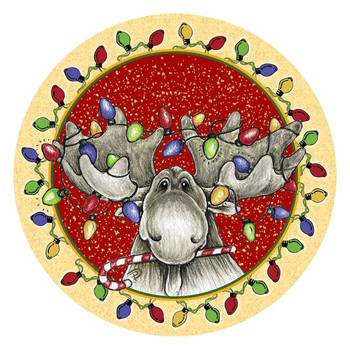 Big Sky Christmas Moose Absorbent Round Beverage Coasters, Set of 8
