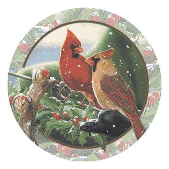 Cardinal Sleigh Ride Beverage Coasters by Janene Grende, Set of 8