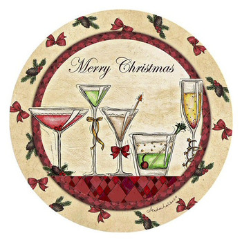 Merry Christmas Cocktails Round Coasters by Andrea Laliberte, Set of 8