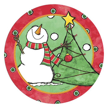 Looking Up! Snowman Round Beverage Coasters by Tara Reed, Set of 8