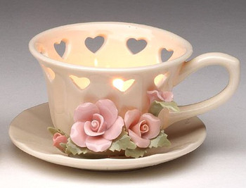 Rose Cup Tea Light Candle Holders, Set of 2
