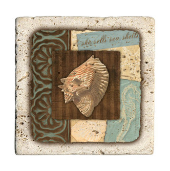 She Shells Sea Shells Travertine Stone Beverage Coasters, Set of 8
