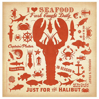 I Love Seafood Absorbent Coasters by Anderson Design Group, Set of 8