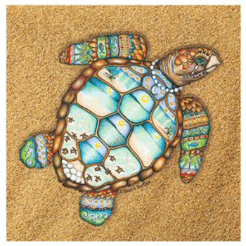 Loggerhead Rhythms Turtle Beverage Coasters by Nora Butler, Set of 8