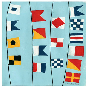 Nautical Flags Absorbent Beverage Coasters by Anne Tavoletti, Set of 8