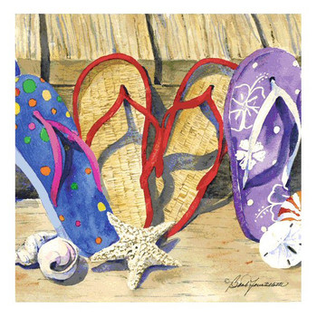 Flip Flop Line Up Beverage Coasters by Barb Tourtillotte, Set of 8