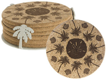 Beachside Beverage Coasters with Steel Holders, Set of 14
