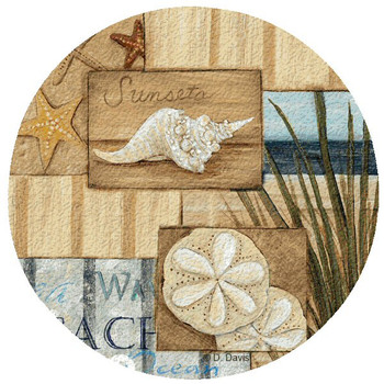 At the Beach II Cork Beverage Coasters by D. Davis, Set of 12