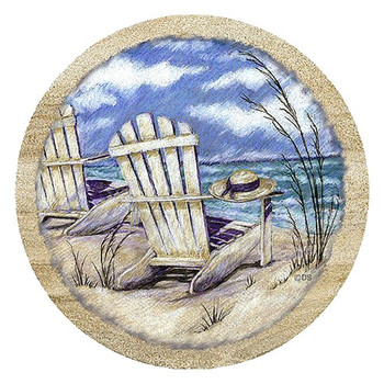 Summer Breeze Beach Sandstone Beverage Coasters, Set of 8