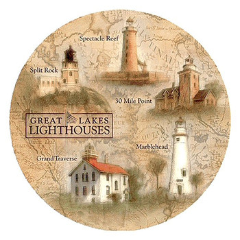 Great Lakes Lighthouses Sandstone Beverage Coasters, Set of 8