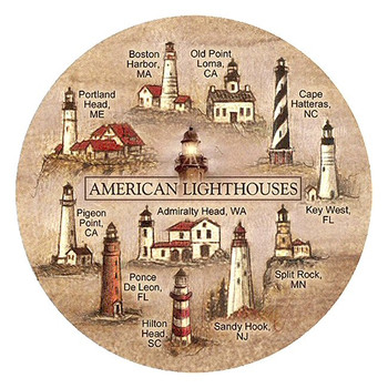 American Lighthouses Sandstone Beverage Coasters, Set of 8