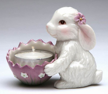 Bunny Rabbit Porcelain Tea Light Candle Holders, Set of 2