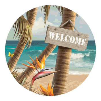 Welcome to Paradise Sandstone Beverage Coasters by A. Giana, Set of 8