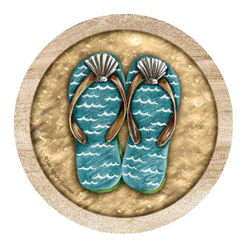 Flip Flops Sandstone Beverage Coasters by Lori Schory, Set of 8