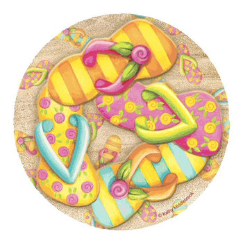 Flip Flop Toss Sandstone Coasters by Kathy Middlebrook, Set of 8