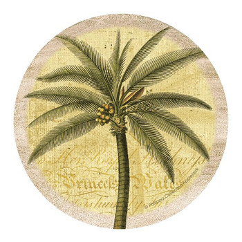 Palm Tree Sandstone Round Coasters by Philippa Collection, Set of 8