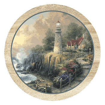 The Light of Peace Sandstone Coasters by Thomas Kinkade, Set of 8