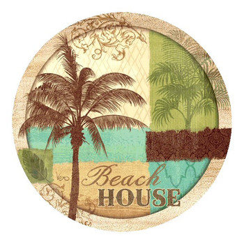 Palm Resort Beach House Sandstone Coasters by Vero Charron, Set of 8