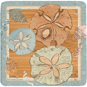 Sea Life Sand Dollar Beverage Coasters, Set of 8