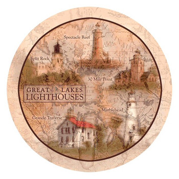 Great Lakes Lighthouses Absorbent Round Beverage Coasters, Set of 8