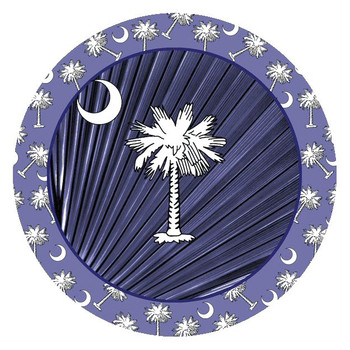 Navy Blue Palmetto Absorbent Round Beverage Coasters, Set of 8