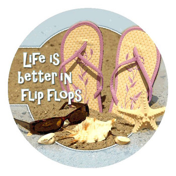 Life is Better in Flip Flops Round Beverage Coasters, Set of 8
