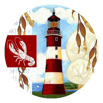 Shore Collage Round Beverage Coasters by Mary Escobedo, Set of 8