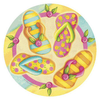 Flip Flop Toss Round Beverage Coasters by Kathy Middlebrook, Set of 8