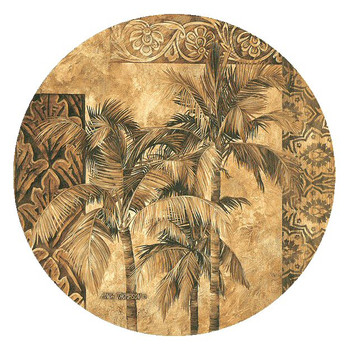 Golden Palm Tree Tapestry Round Coasters by Linda Thompson, Set of 8