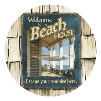 Welcome to the Beach House Round Coasters by Daniel Pollera, Set of 8