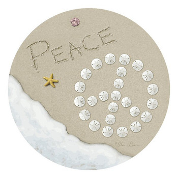 Sand Writing Peace Beverage Coasters by Alan Giana, Set of 12