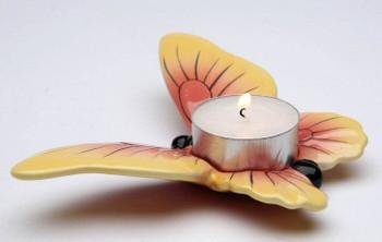 Mini Orange Butterfly Porcelain Tea Light Candle Holders, Set of 6