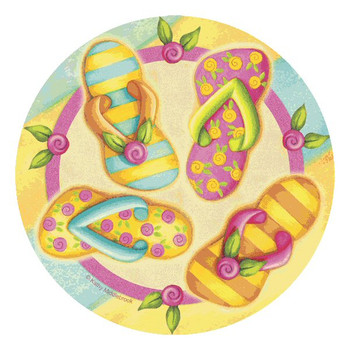 Flip Flop Toss Beverage Coasters by Kathy Middlebrook, Set of 12