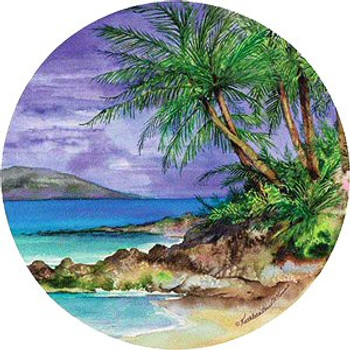 Palm Island Round Beverage Coasters by K. Parr McKenna, Set of 12