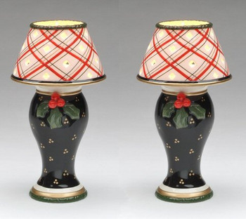 Holly and Berries Tea Light Lamp Candle Holder, Set of 2