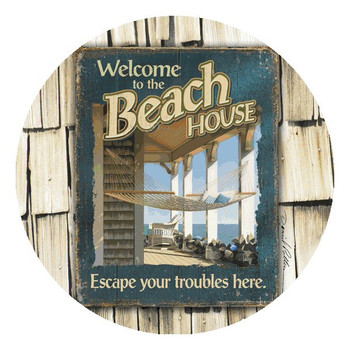 Welcome to the Beach House Beverage Coasters by D. Pollera, Set of 12
