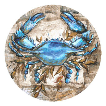 Blue Crab Round Beverage Coasters by Tre Sorelle Studios, Set of 8